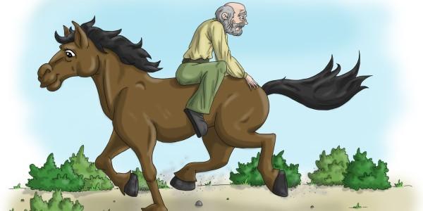 Muž co jezdil pozadu na koni